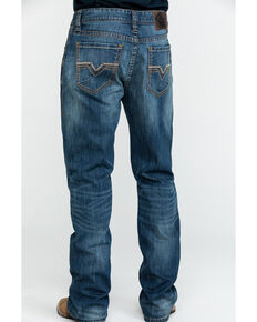 Rock & Roll Cowboy Men's Small V Reflex Double Barrel Bootcut Jeans , Blue, hi-res