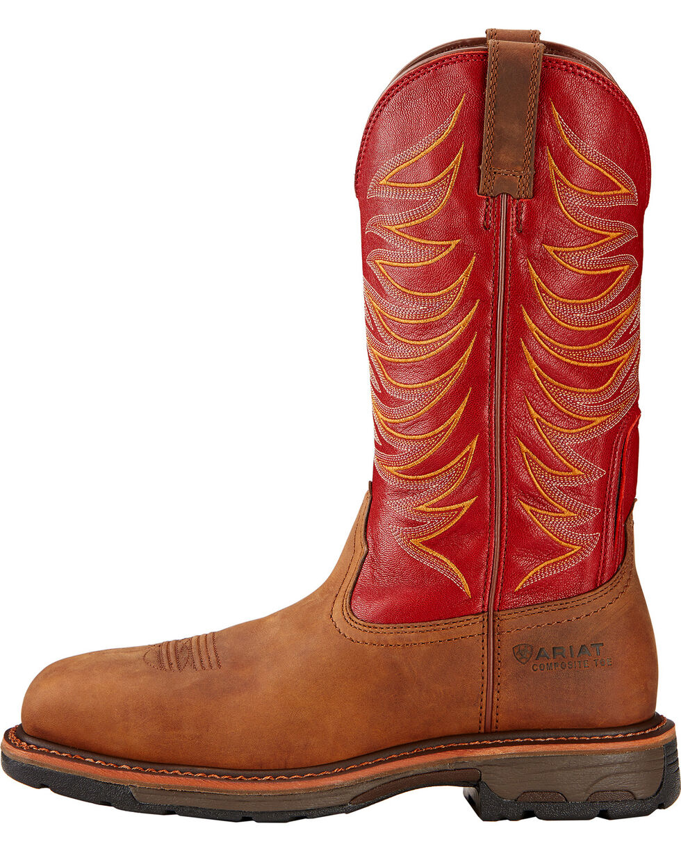 Ariat Workhog Wide Square Toe Tall Boots - Composite Toe , Brown, hi-res