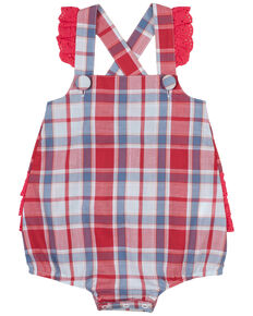 Wrangler Infant Girls' Red & Blue Plaid Criss Cross Ruffle Back Sleeveless Onesie , Red, hi-res