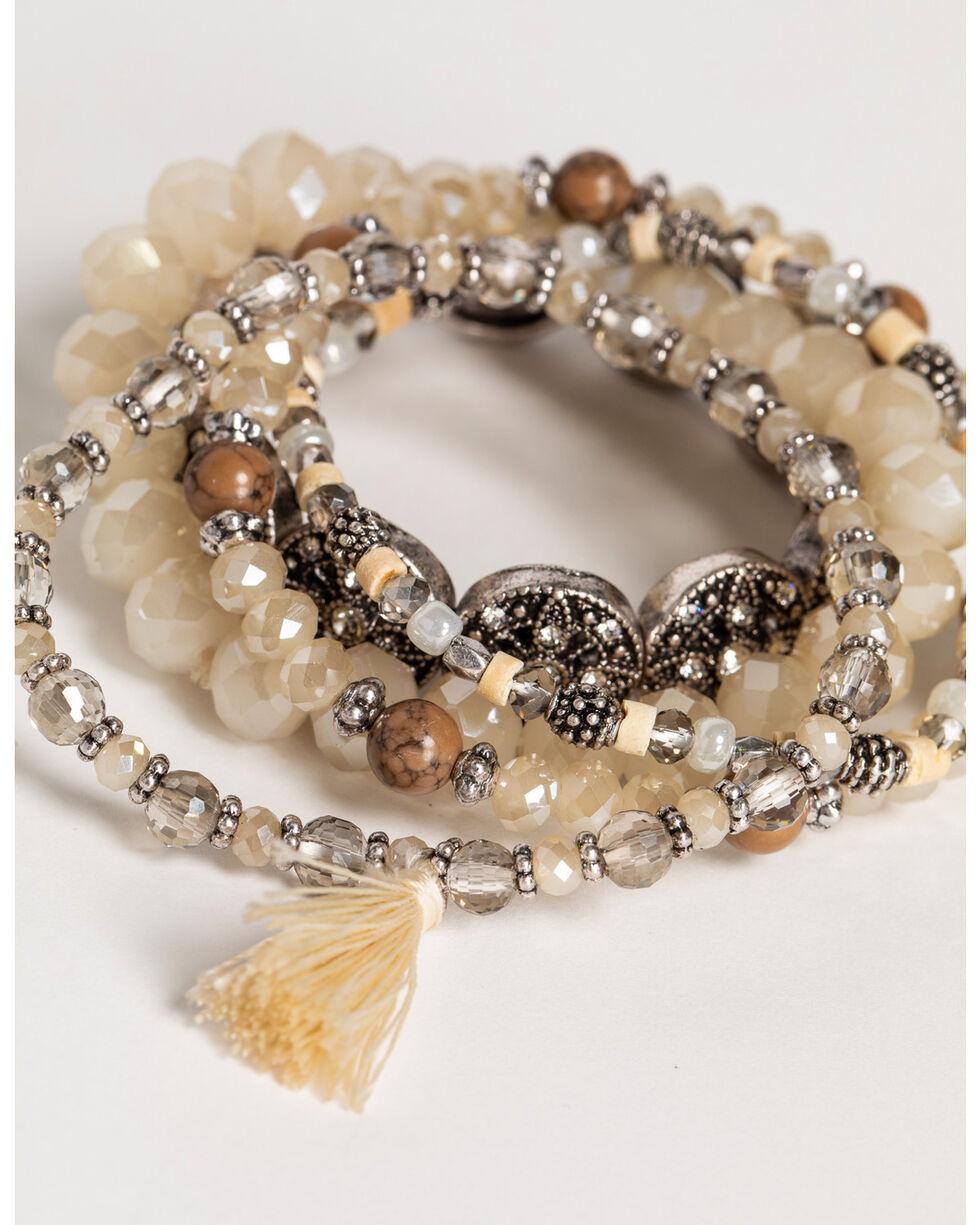 Shyanne Women's Sandstone Tassel Beaded Bracelets, Sand, hi-res