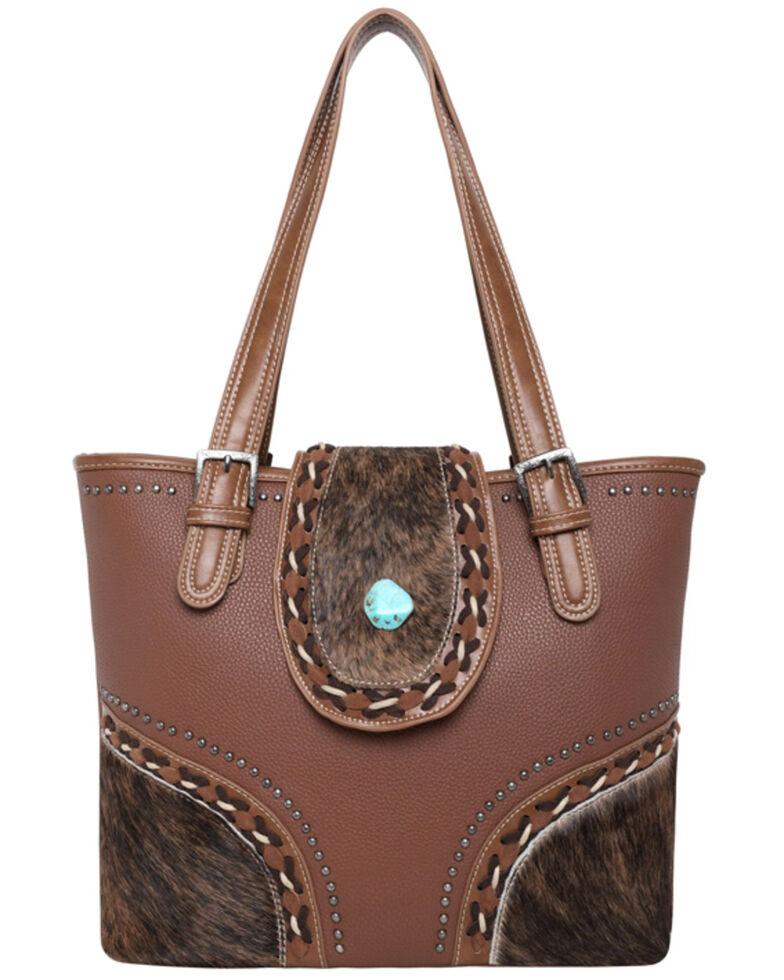 Montana West Women's Cowhide Tote Bag, Brown, hi-res
