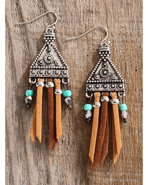 Lost & Found Women's Maya Suede Fringe Earrings , Multi, hi-res