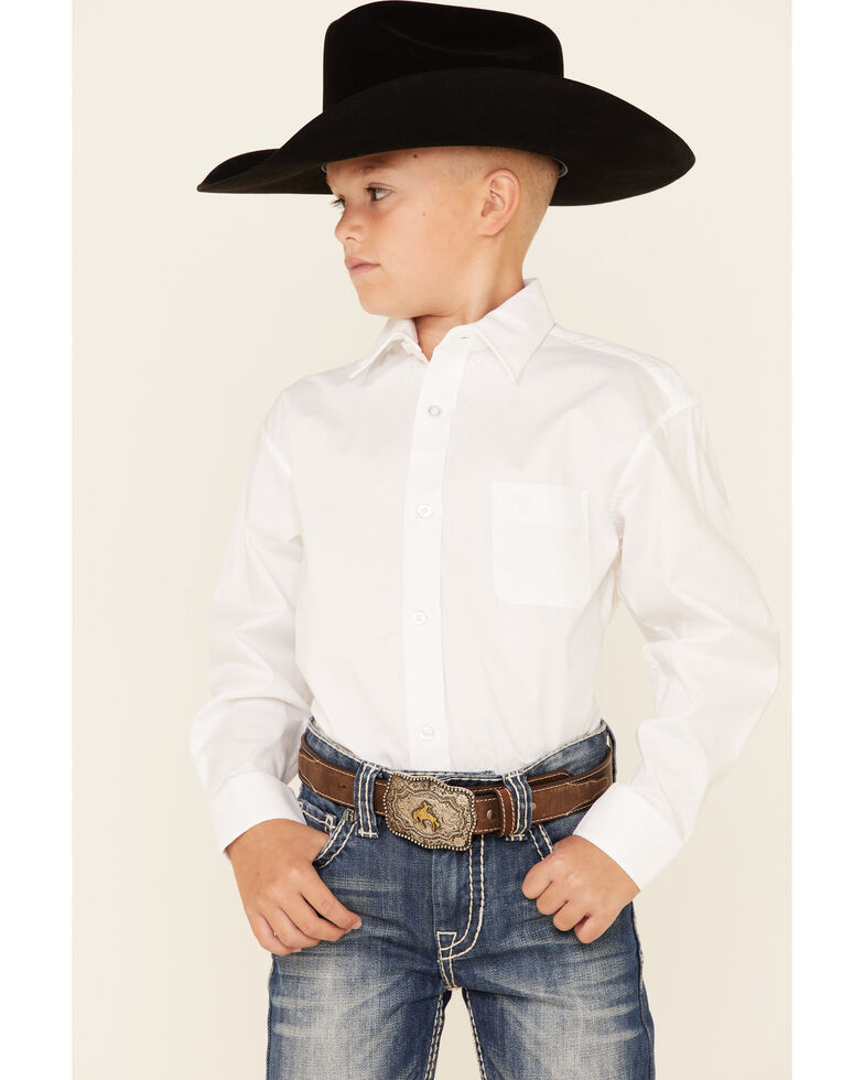 Panhandle Select Boys' Solid Violet Stretch Long Sleeve Button-Down Western Shirt , White, hi-res