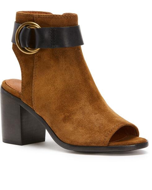 Frye Women's Chocolate Danica Harness Shoes , Dark Brown, hi-res