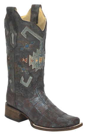Corral Vintage Aztec Lizard Patchwork Cowgirl Boots - Square Toe, Brown, hi-res