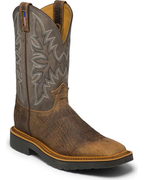 Justin Men's Scottsbluff Western Work Boots - Square Toe, Brown, hi-res