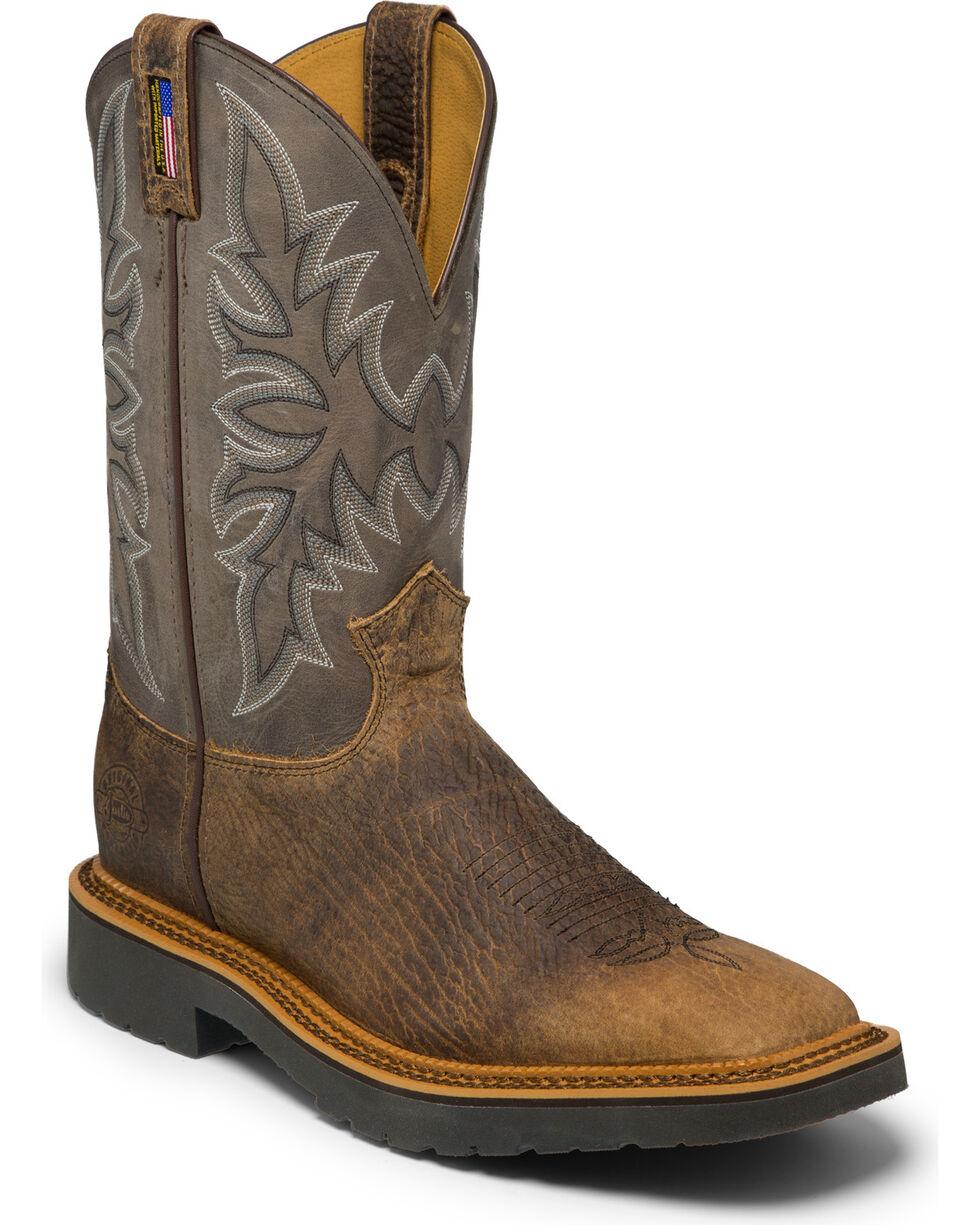 Justin Men's Scottsbluff Grey Electrical Hazard Work Boots - Soft Toe, Brown, hi-res