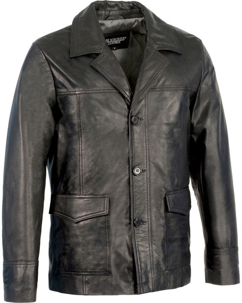 Milwaukee Leather Men's Leather Car Coat Jacket , Black, hi-res