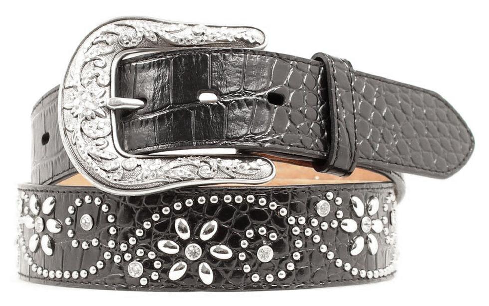 Ariat Swirl Studded Croc Print Western Belt, Black, hi-res