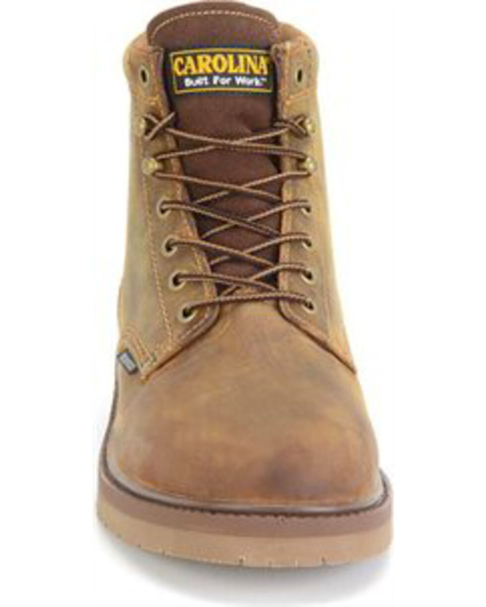 "Carolina Men's Brown 6"" Smooth Sole Waterproof Workboots - Steel Toe, Brown, hi-res"