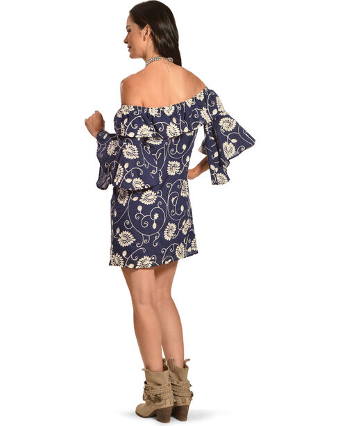 Polagram Women's Navy Off-the-Shoulder Embroidered Ruffle Dress , Navy, hi-res