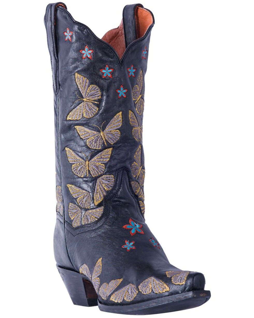 Dan Post Women's Rustic Tan Embroidered Butterfly Cowgirl Boots - Snip Toe, , hi-res