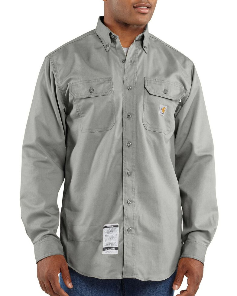 Carhartt Men's FR Solid Two-Pocket Long Sleeve Work Shirt, Grey, hi-res