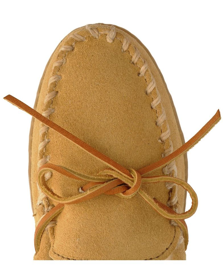 Minnetonka Women's Pile Lined Hardsole Moccasins - Wide, Tan, hi-res