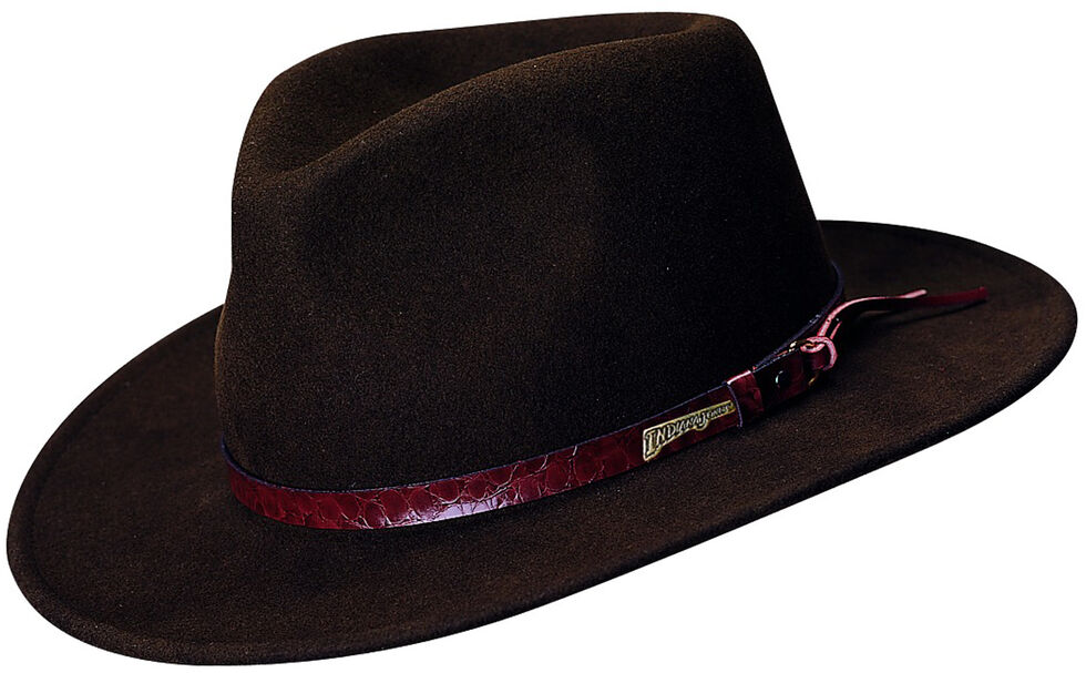 d666e81c9 Indiana Jones Brown Leather Trim Wool Felt Fedora Hat