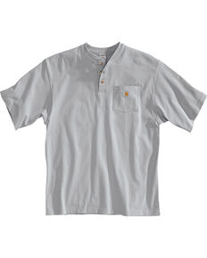 Carhartt Short Sleeve Henley Work Shirt - Big & Tall, Grey, hi-res