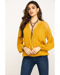 Shyanne Women's Solid Lace Peasant Top, Dark Yellow, hi-res