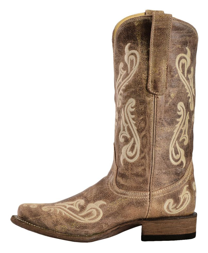 Corral Cortez Distressed Fleur-De-Lis Embroidered Cowgirl Boots - Square Toe, , hi-res