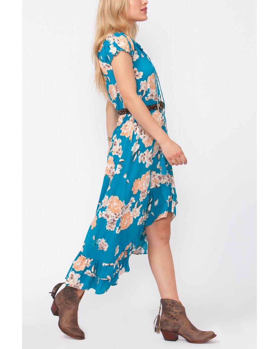 Shyanne Women's Floral Button-Down High-Low Dress, Blue, hi-res
