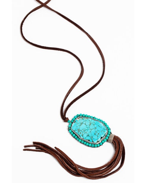 Cowgirl Confetti Women's Turquoise Four Winds Fringe Necklace , Turquoise, hi-res