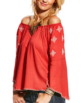 Ariat Women's Kristine Off-The-Shoulder Embroidered Top, Dark Pink, hi-res