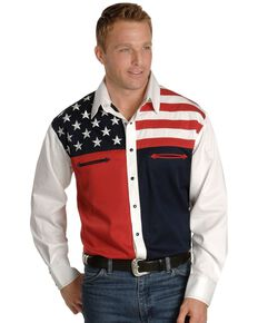 Scully Men's Patriotic American Flag Colorblock Long Sleeve Western Shirt, Blue, hi-res