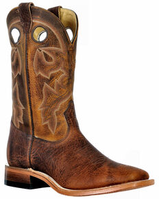 Boulet Men's Wide Square Toe Western Boots, Brown, hi-res