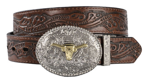 Exclusive Gibson Trading Co. Kids' Reversible Tooled Belt, Black, hi-res