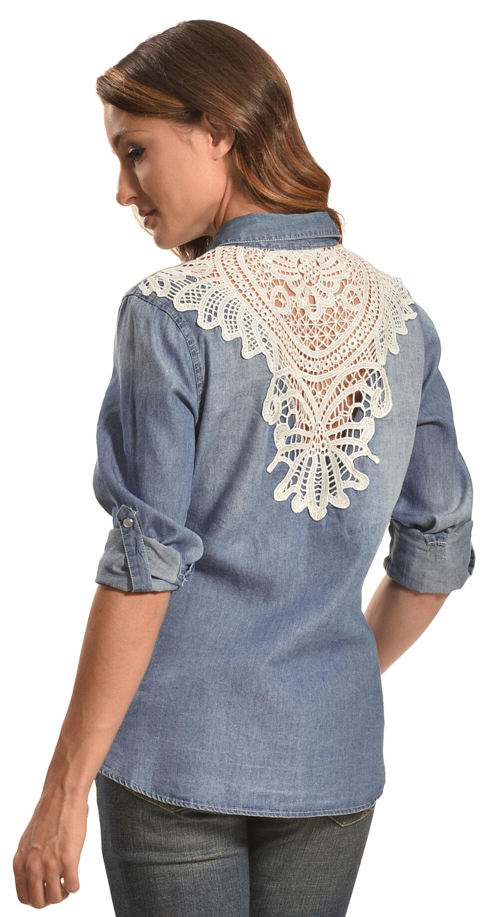 Tantrums Women's Denim Crochet Western Snap Shirt , Indigo, hi-res