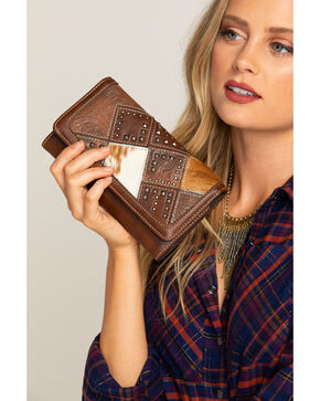 Shyanne Women's Calf Hair Patchwork Wallet Wristlet, Dark Brown, hi-res