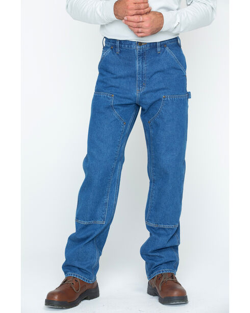 Carhartt Double Front Logger Washed Dungaree Work Jeans, Dark Stone, hi-res
