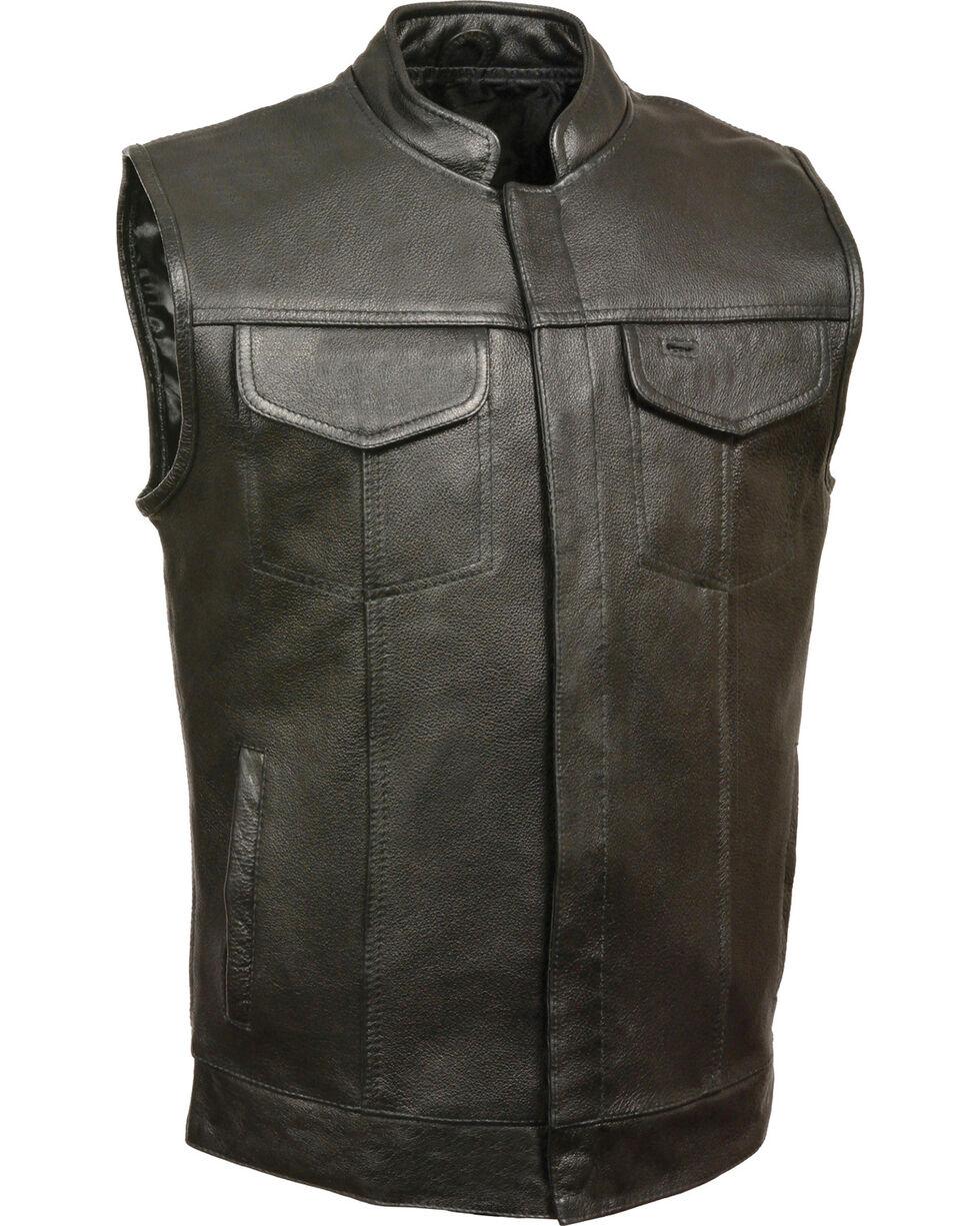 Milwaukee Leather Men's Black Open Neck Club Vest - 5X , Black, hi-res