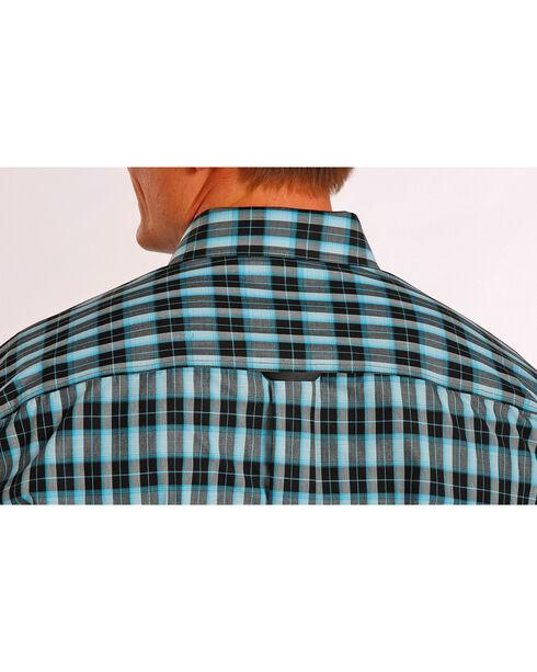 Tuf Cooper Performance Teal and Black Plaid Western Shirt , Plaid, hi-res