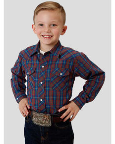 Roper Boys' Multi Plaid Snap Long Sleeve Western Shirt , Multi, hi-res