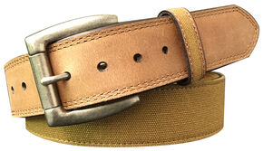 G Bar D Men's Brown Canvas Strap Leather Belt, Brown, hi-res