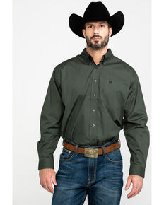Cinch Men's Olive Geo Print Long Sleeve Western Shirt , Olive, hi-res