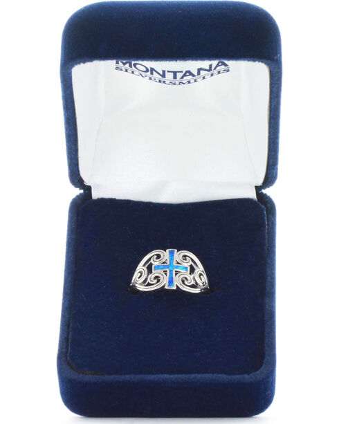 Montana Silversmiths Women's River of Lights Cross Ring , Silver, hi-res