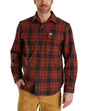 Carhartt Men's Hubbard Long Sleeve Plaid  Flannel Work Shirt - Big & Tall, Dark Red, hi-res
