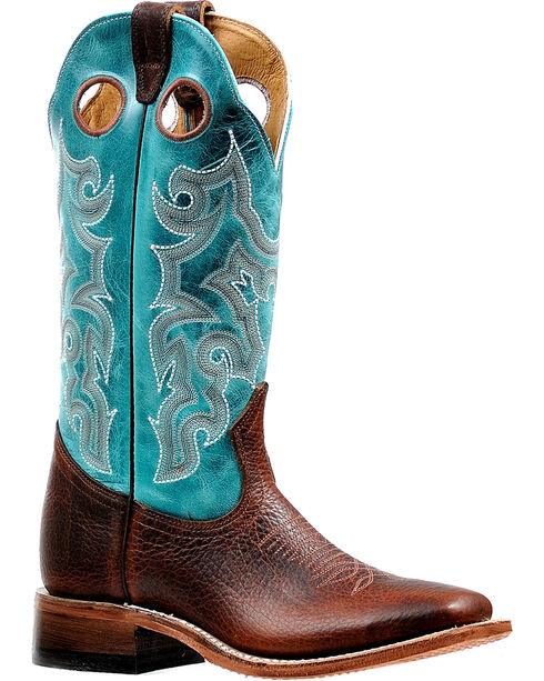 Boulet Women's Bisonte Utta Wiskey Stockman Cowgirl Boots - Square Toe, Brown, hi-res