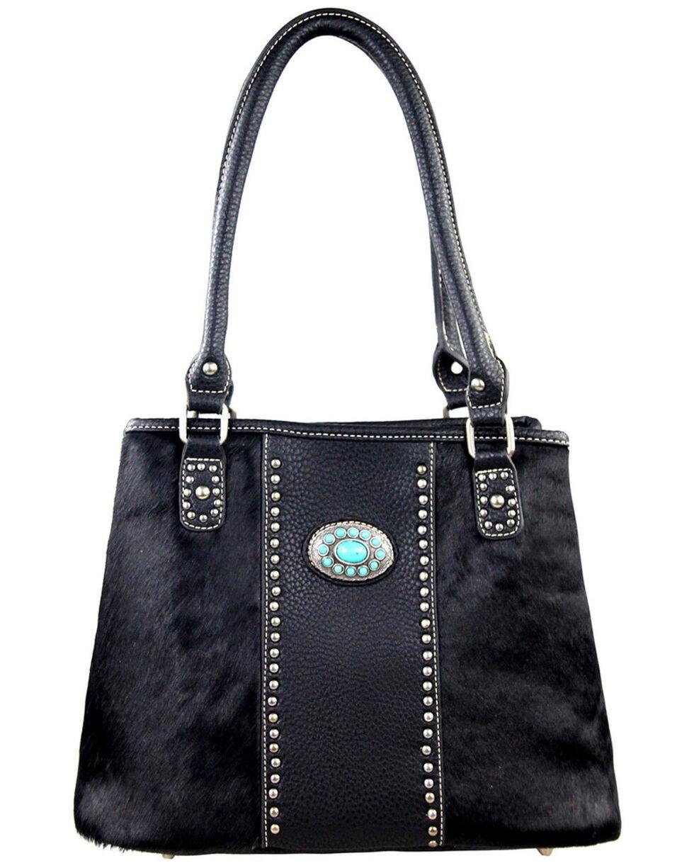 Montana West Trinity Ranch Coffee Hair-On Leather Collection Handbag, Black, hi-res