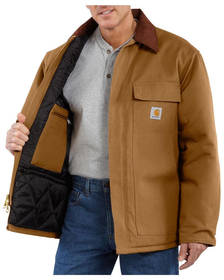Carhartt Men's Traditional Duck Zip-Front Work Jacket, Brown, hi-res