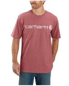 Carhartt Men's Heather Blush Pink Logo Short Sleeve Work T-Shirt - Tall, Rust Copper, hi-res