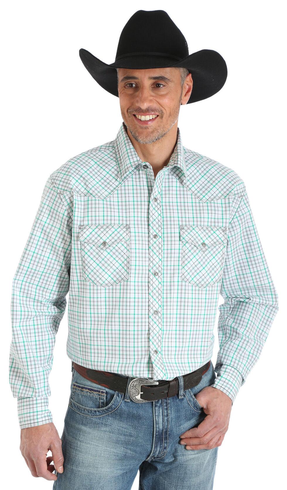 Wrangler 20X Men's White/Green Competition Advanced Comfort Snap Shirt - Big & Tall, Green, hi-res