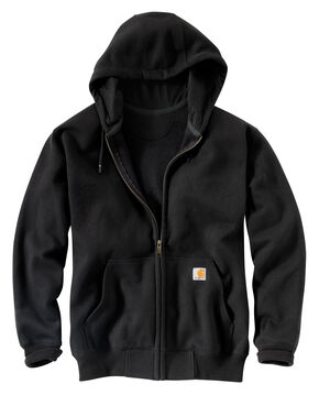 Carhartt Rain Defender Paxton Heavyweight Zip Front Hoodie, Black, hi-res