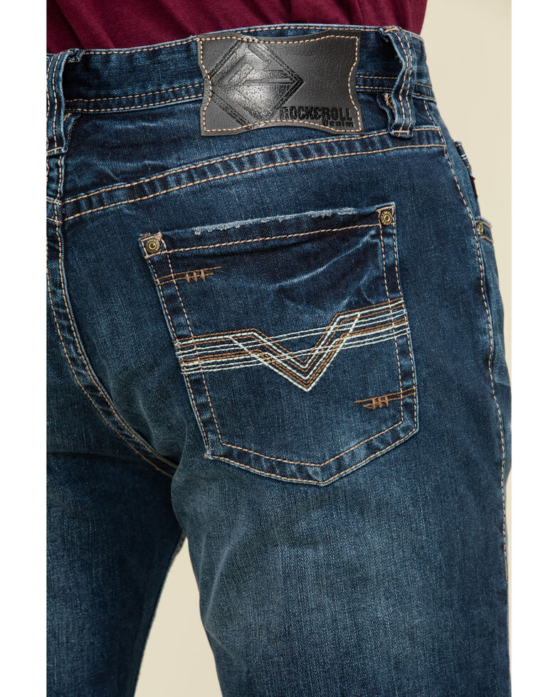 Rock & Roll Denim Men's Reflex Revolver Dark Slim Straight Jeans , Blue, hi-res