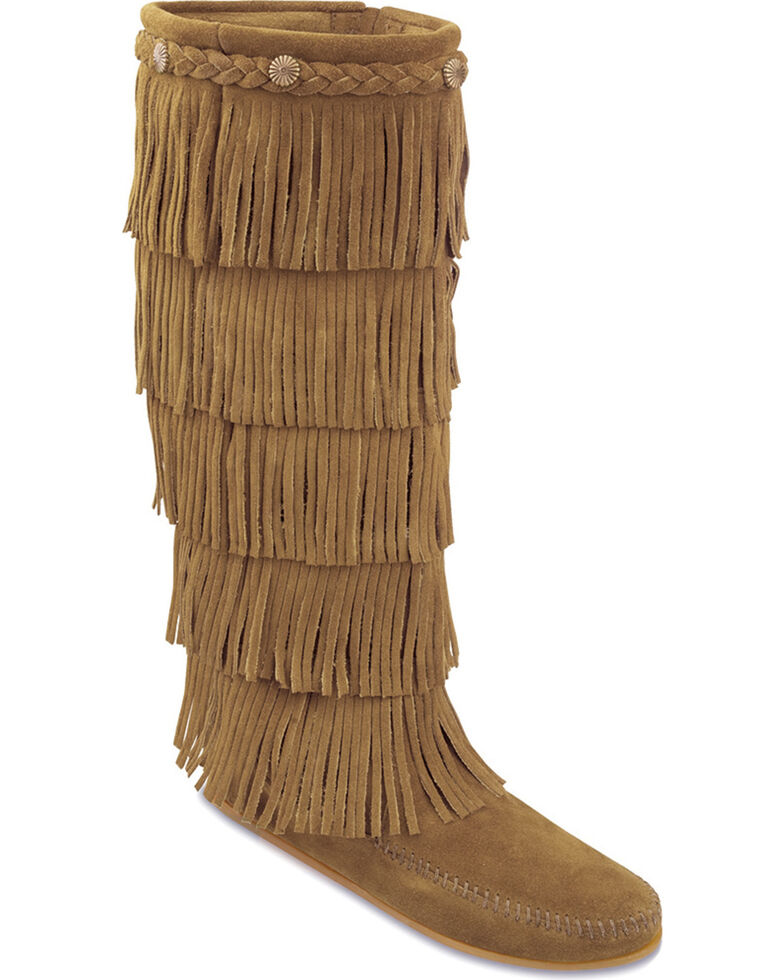 Minnetonka Fringed Suede Leather Boots, Taupe, hi-res