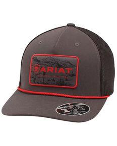 Ariat Men's Grey & Red Recreation Logo Patch Mesh-Back Flex Fit Ball Cap , Grey, hi-res