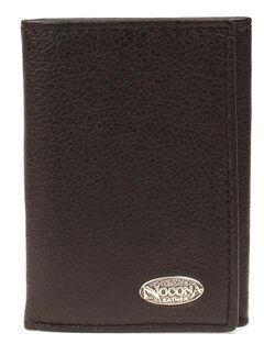 Nocona Classic Logo Concho Tri-fold Wallet, Black, hi-res