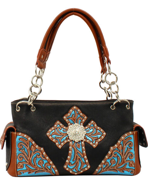 Blazin Roxx Women's Glitter Embossed Cross Satchel, Black, hi-res