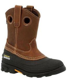 Georgia Boot Youth Boys' Muddog Big Kid Outdoor Boots - Soft Toe, Black/brown, hi-res